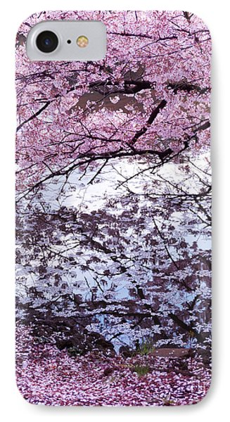 Cherry Tree Branches With Pink Blossom Touching Water IPhone Case by Oleksiy Maksymenko