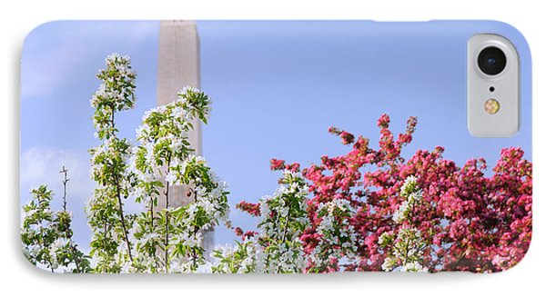 IPhone Case featuring the photograph Cherry Trees And Washington Monument Four by Mitchell R Grosky