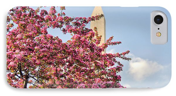 IPhone Case featuring the photograph Cherry Trees And Washington Monument One by Mitchell R Grosky