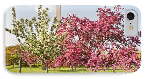 Cherry Trees And Washington Monument Three IPhone Case