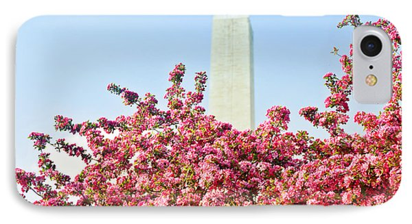 IPhone Case featuring the photograph Cherry Trees And Washington Monument Two by Mitchell R Grosky