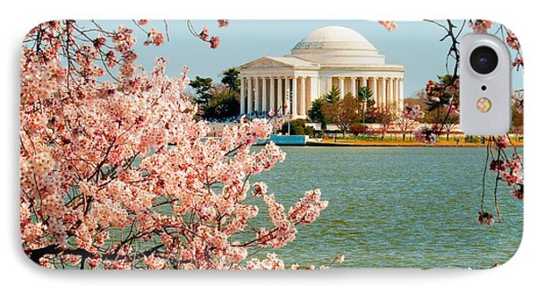 Cherry Trees At The Jefferson IPhone Case by Nick Zelinsky
