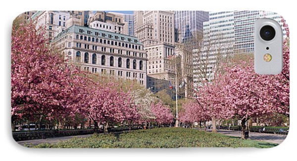 Cherry Trees, Battery Park, Nyc, New IPhone Case by Panoramic Images