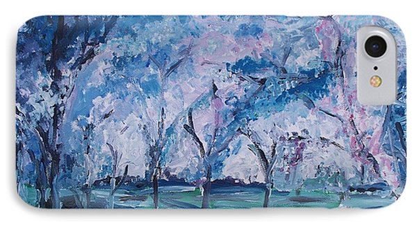 Cherry Trees Impressionism Phone Case by Eric  Schiabor