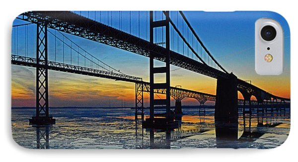 Chesapeake Bay Bridge Reflections IPhone Case by Bill Swartwout