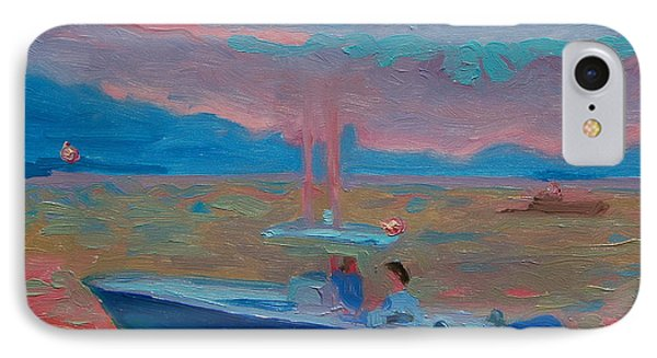 IPhone Case featuring the painting Chesapeake Bay Twilight With Moon by Thomas Bertram POOLE
