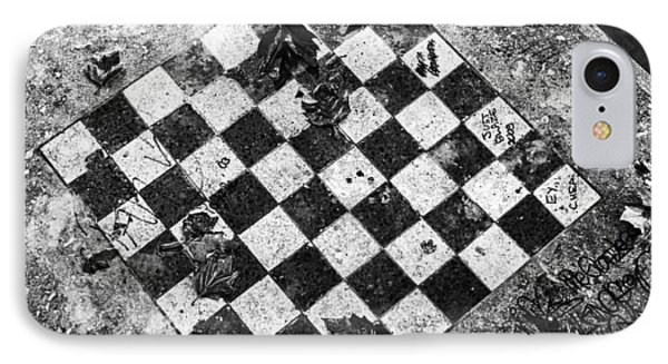 IPhone 7 Case featuring the photograph Chess Table In Rain by Dave Beckerman