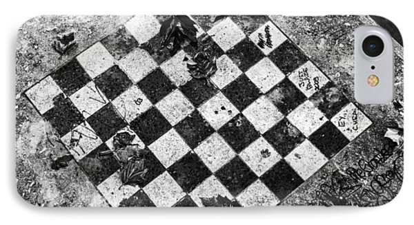 Chess Table In Rain IPhone Case by Dave Beckerman