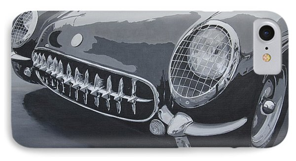 IPhone Case featuring the painting Chevrolet Corvette 1954 by Anna Ruzsan