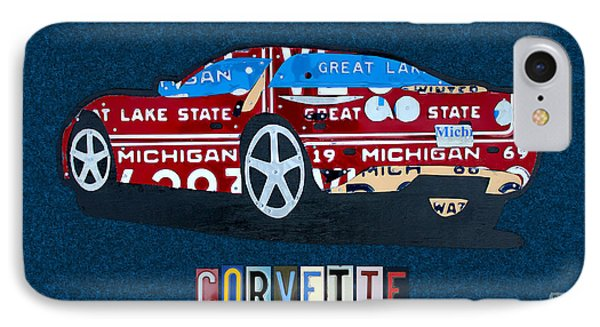 Chevrolet Corvette Recycled Michigan License Plate Art Phone Case by Design Turnpike