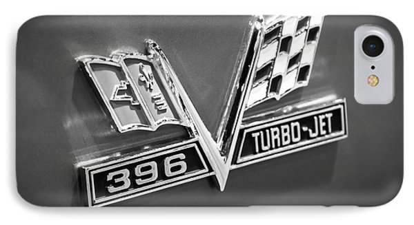 Chevy 396 Turbo-jet Emblem Black And White Picture Phone Case by Paul Velgos
