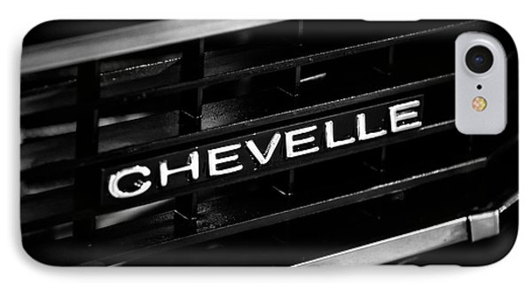 Chevy Chevelle Grill Emblem Black And White Picture Phone Case by Paul Velgos
