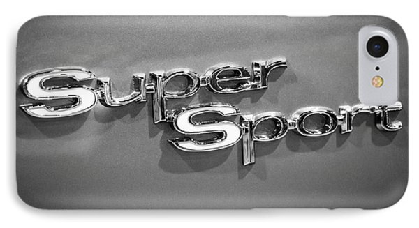 Chevy Super Sport Emblem Black And White Picture Phone Case by Paul Velgos