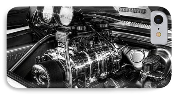 Chevy Supercharger Motor Black And White IPhone Case by Jonathan Davison