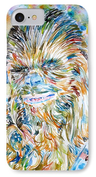 Chewbacca Watercolor Portrait IPhone Case by Fabrizio Cassetta