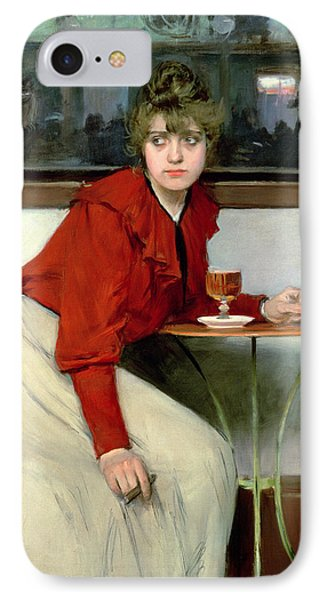 Chica In A Bar Phone Case by Ramon Casas i Carbo