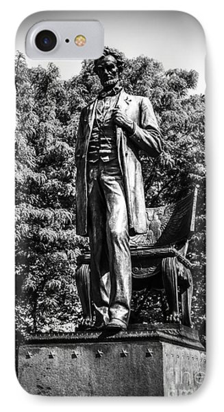 Chicago Abraham Lincoln Statue In Black And White IPhone Case by Paul Velgos