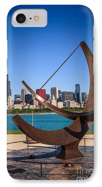 Chicago Adler Planetarium Sundial And Chicago Skyline IPhone Case by Paul Velgos