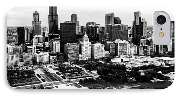 Chicago Aerial Picture In Black And White IPhone Case