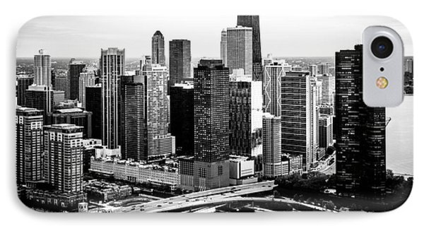 Chicago Aerial Picture Of Streeterville In Black And White IPhone Case