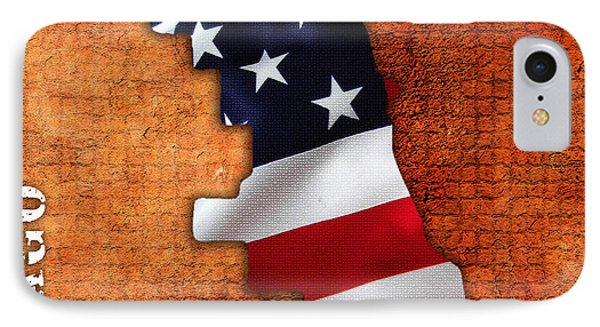 Chicago American Flag City Map IPhone Case by Marvin Blaine