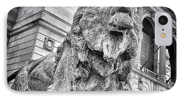 Lion Statue At Art Institute Of Chicago IPhone Case by Paul Velgos