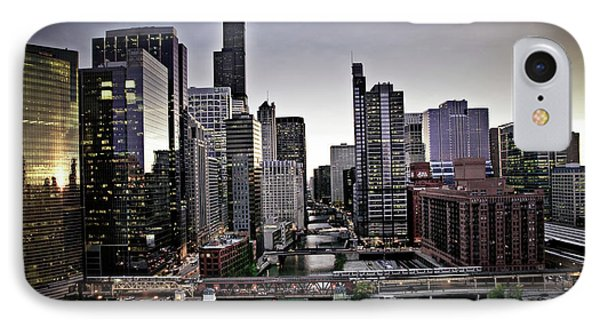 Chicago At Dusk IPhone Case by Linda Matlow