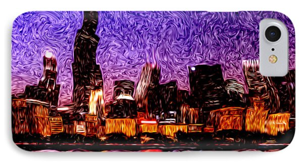 Chicago At Night Digital Art IPhone Case by Paul Velgos