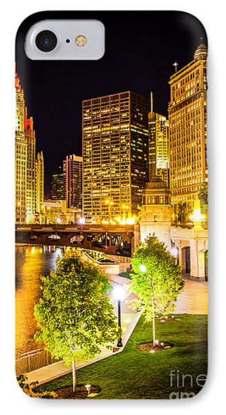 Chicago At Night Picture IPhone Case by Paul Velgos