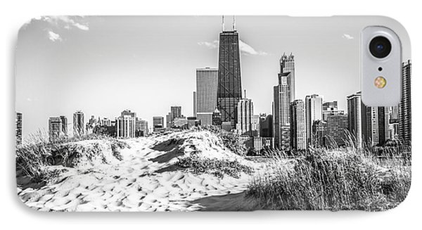 Chicago Beach And Skyline Black And White Photo IPhone Case