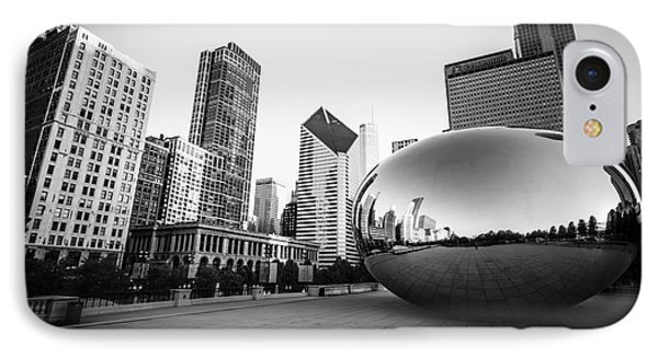 Chicago Bean And Chicago Skyline In Black And White IPhone Case