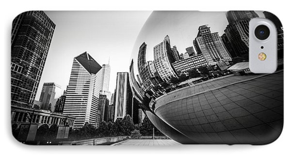 Chicago Bean Cloud Gate In Black And White IPhone Case