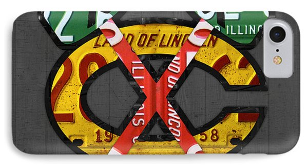 Chicago Blackhawks Hockey Team Retro Logo Vintage Recycled Illinois License Plate Art IPhone Case by Design Turnpike