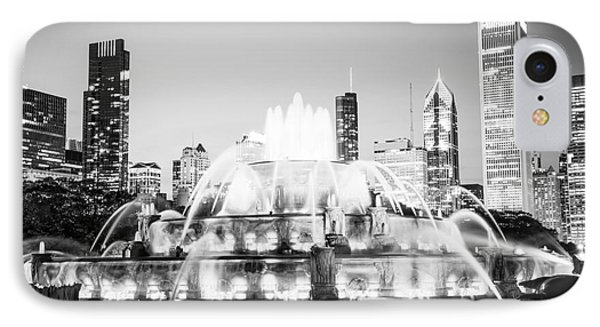 Chicago Buckingham Fountain Black And White Picture IPhone Case by Paul Velgos