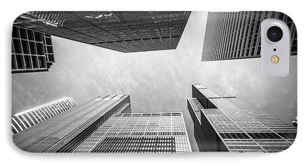 Chicago Buildings Upward In Black And White IPhone Case