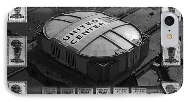 Chicago Bulls Banners In Black And White Phone Case by Thomas Woolworth
