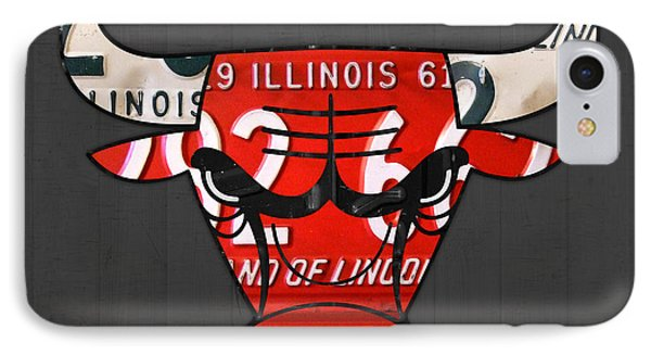 Chicago Bulls Basketball Team Retro Logo Vintage Recycled Illinois License Plate Art IPhone Case