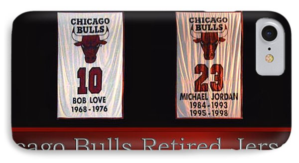Chicago Bulls Retired Jerseys Banners IPhone Case