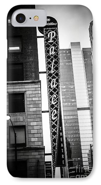 Chicago Cadillac Palace Theatre Sign In Black And White IPhone Case by Paul Velgos