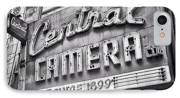 Chicago Central Camera Sign Picture IPhone Case by Paul Velgos