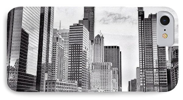 Chicago River Buildings Black And White Photo IPhone Case