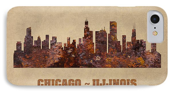 Chicago City Skyline Rusty Metal Shape On Canvas IPhone Case