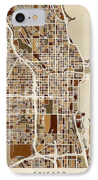 Chicago City Street Map IPhone Case by Michael Tompsett