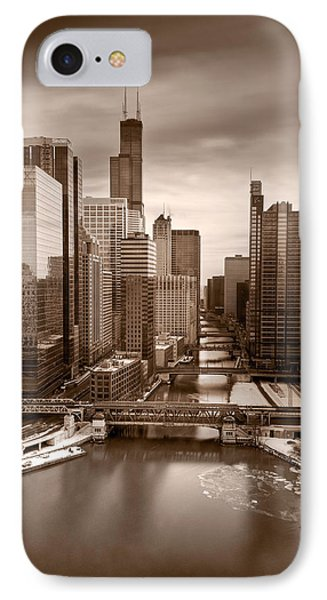 Chicago City View Afternoon B And W IPhone Case by Steve Gadomski