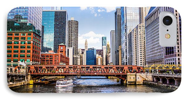Chicago Cityscape At Wells Street Bridge IPhone Case by Paul Velgos