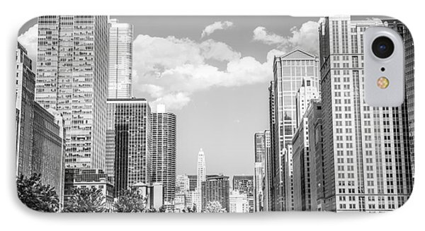 Chicago Cityscape Black And White Picture Phone Case by Paul Velgos