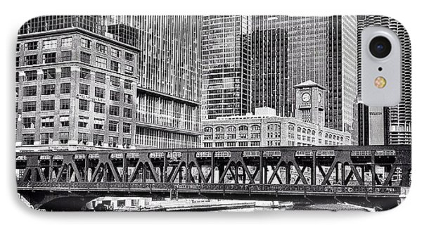 Wells Street Bridge Chicago Hdr Photo IPhone Case