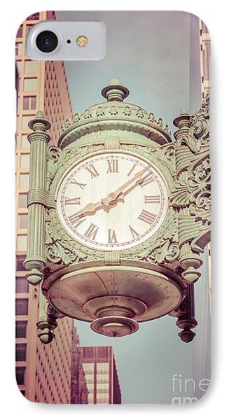 Chicago Clock Retro Photo IPhone Case by Paul Velgos
