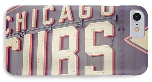 Chicago Cubs Sign Vintage Panoramic Picture IPhone Case by Paul Velgos