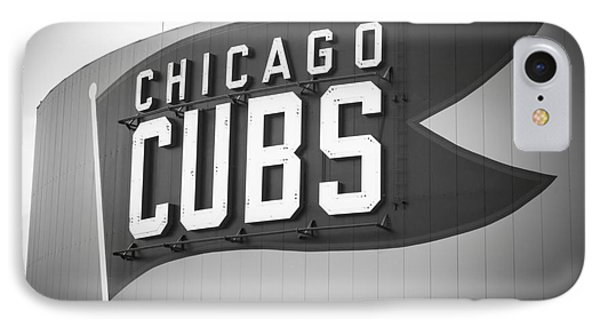 Chicago Cubs Wrigley Field Sign Black And White Picture IPhone 7 Case by Paul Velgos